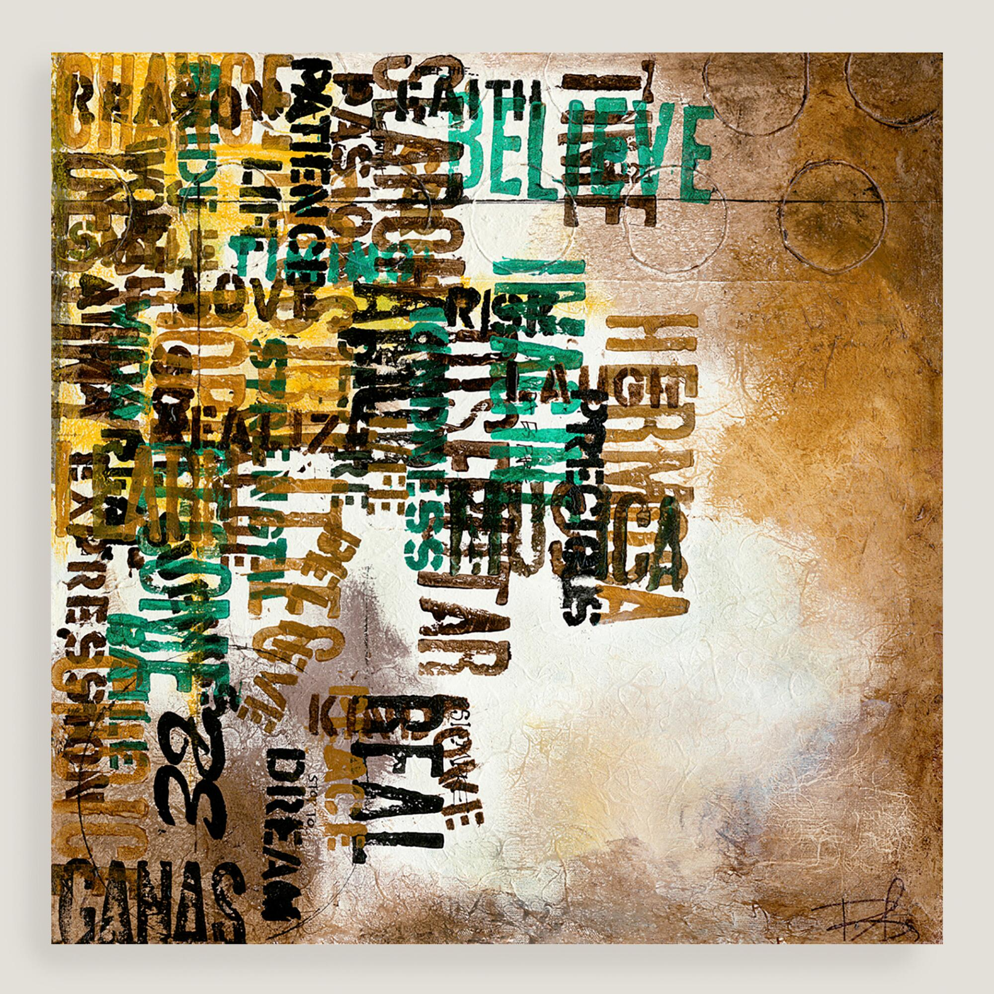 Abstract typography canvas wall art world market for World market wall decor