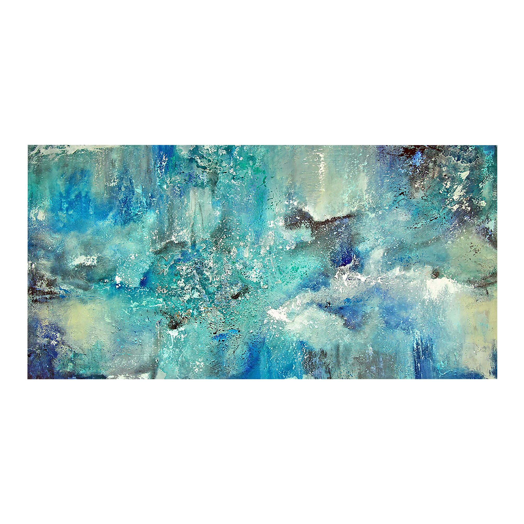 Blue canvas wall art extra large 60 inch turquoise blue for Blue wall art