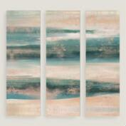 Blue and White Horizon Wall Art Set of Three