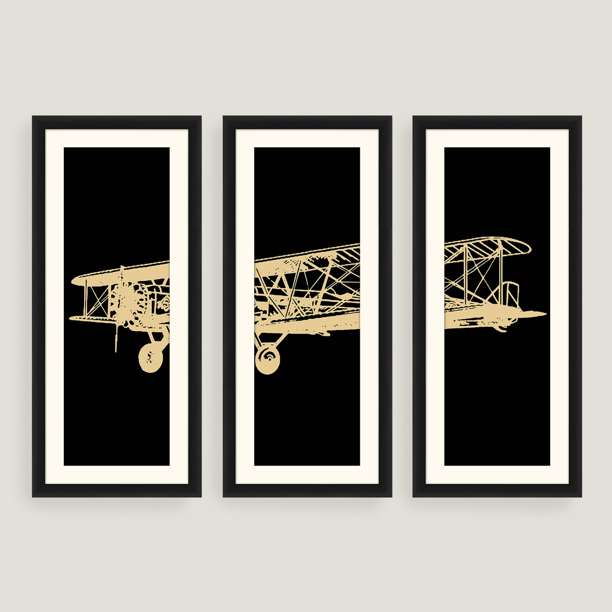 Wall Decor Set Of 3 : Framed vintage plane photo wall art set of three world