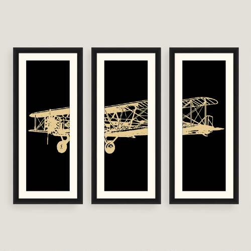 Framed Vintage Plane Photo Wall Art Set of Three