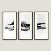 Framed Vintage Plane Sketch Wall Art Set of Three