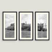 Framed Vintage Train Sketch Wall Art Set of Three