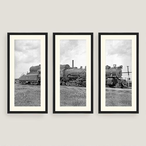 Framed Vintage Train Wall Art Set of Three