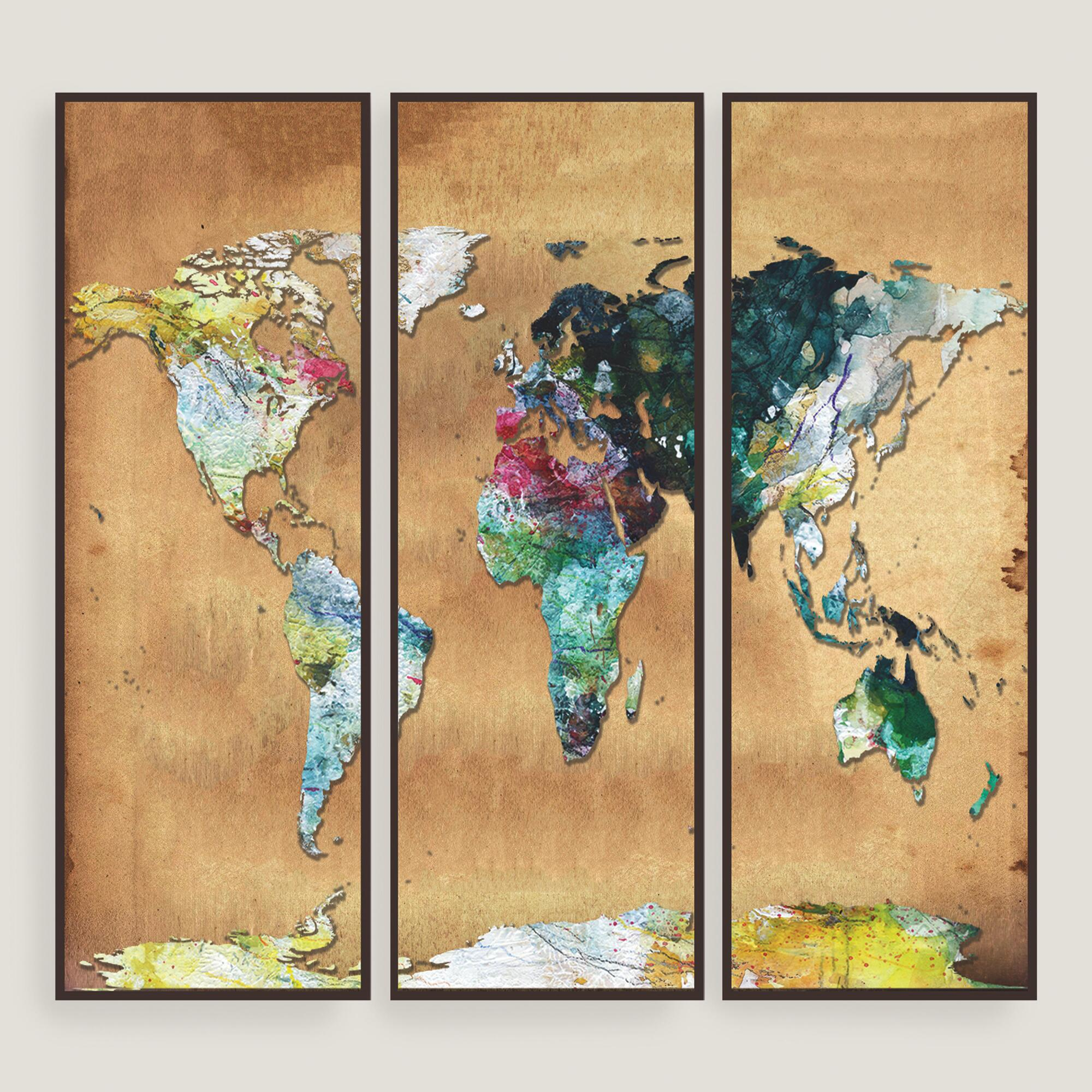 watercolor map wall art set of three world market. Black Bedroom Furniture Sets. Home Design Ideas