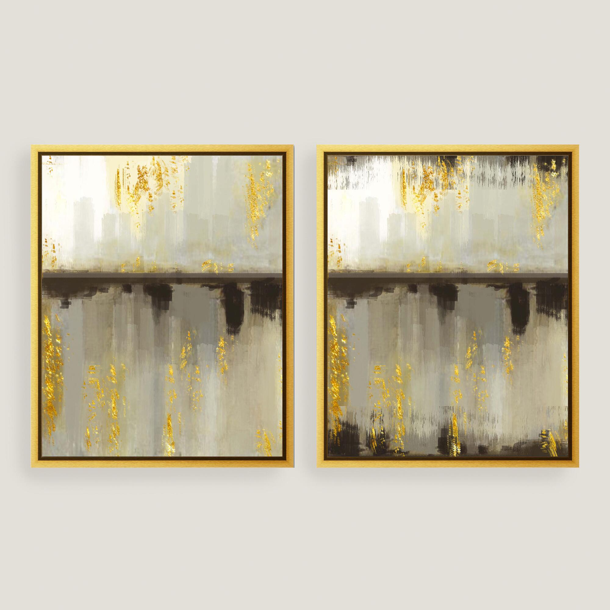 Neutral horizon canvas wall art with gold leaf set of 2 for Gold wall art