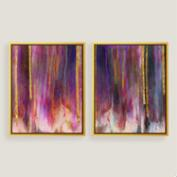 Purple Hues Canvas Wall Art with Gold Leaf Set of Two