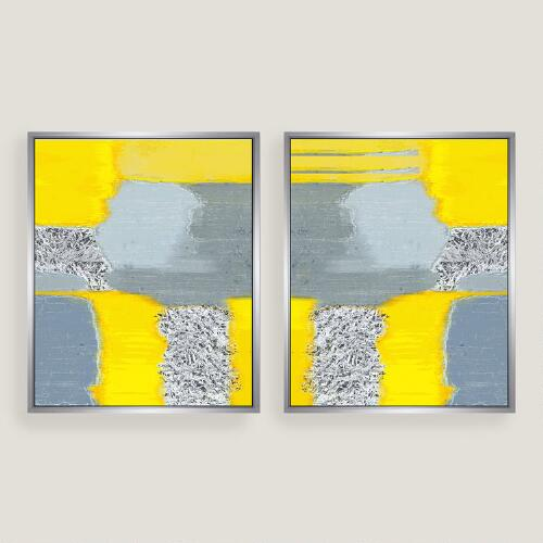 Yellow Grey Abstract Canvas Wall Art Silver Leaf Set of 2