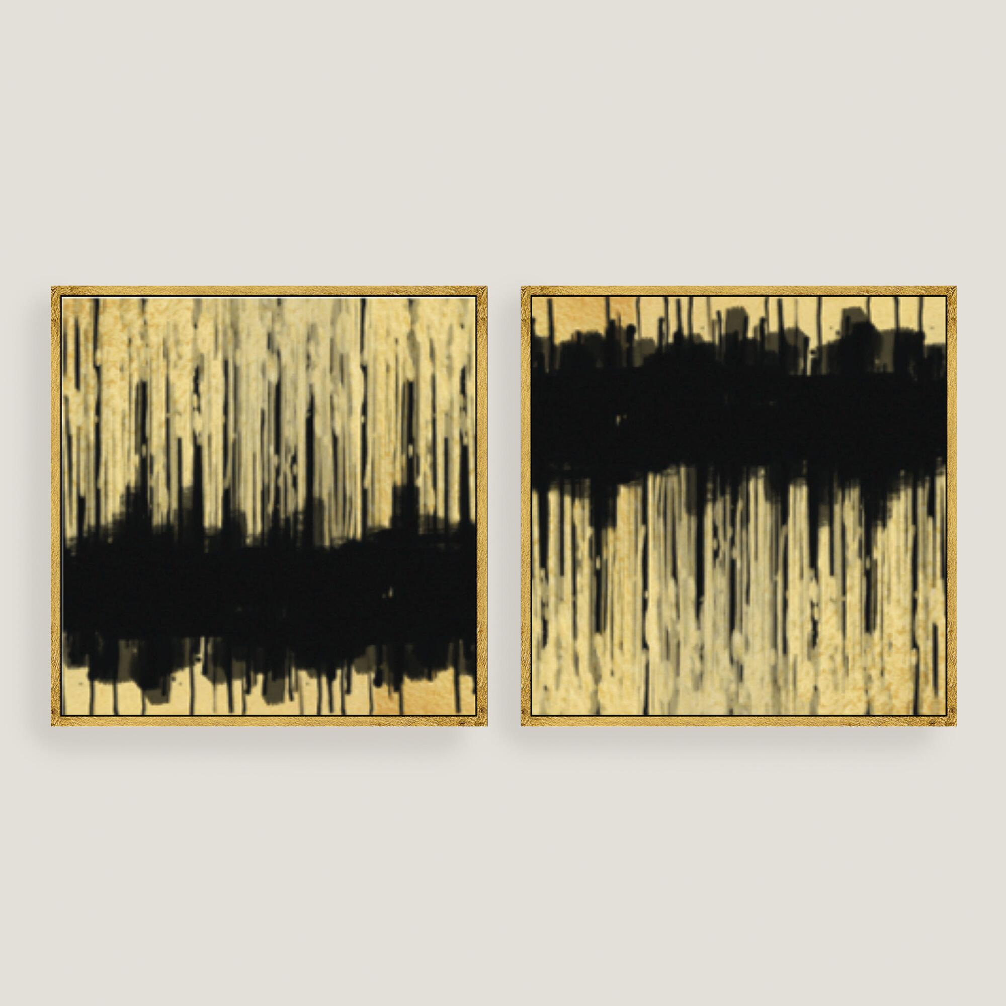 Golden dream abstract canvas wall art gold leaf set of 2 for World market wall decor