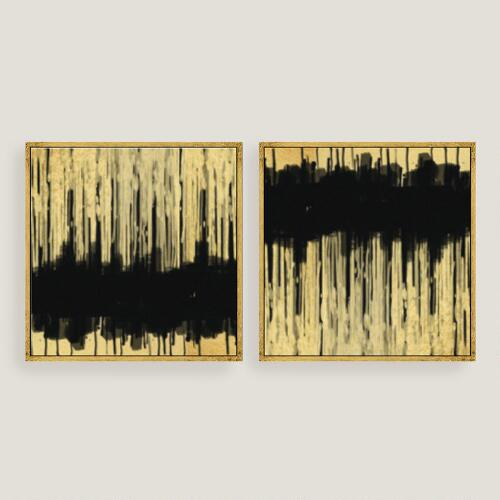 Golden Dream Abstract Canvas Wall Art Gold Leaf Set of 2