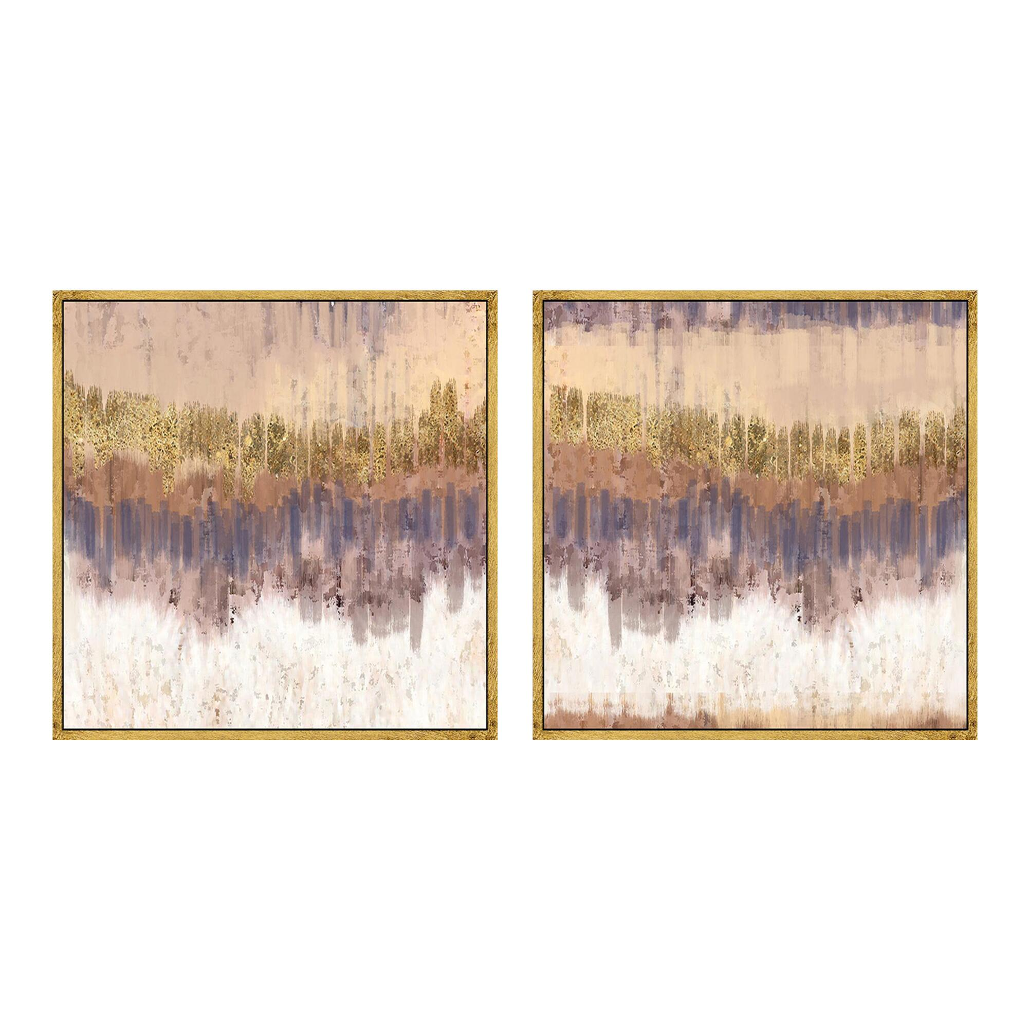 Golden field abstract canvas wall art gold leaf set of 2 for Gold wall art