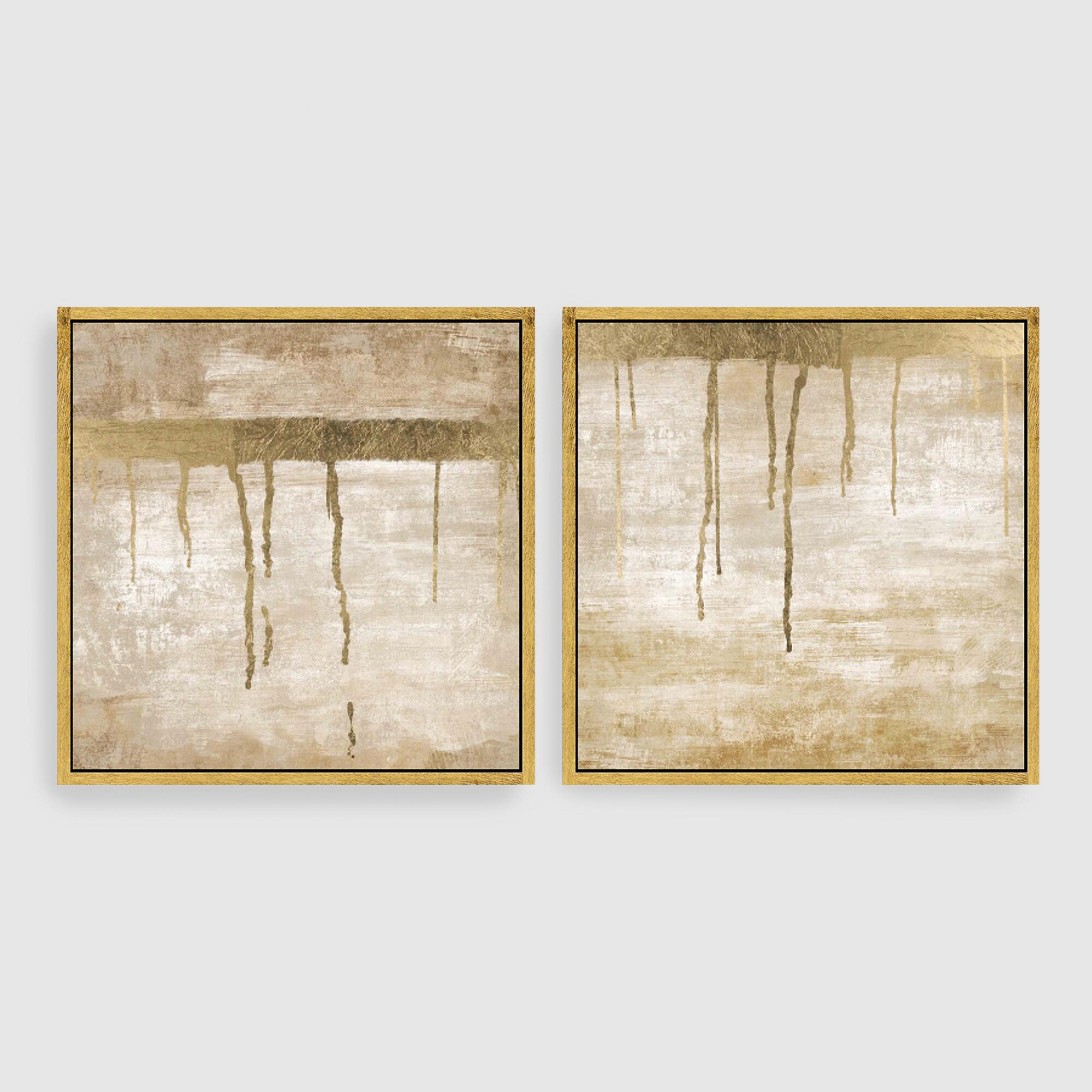 Dripping in gold abstract canvas wall art gold leaf set of for Gold wall art
