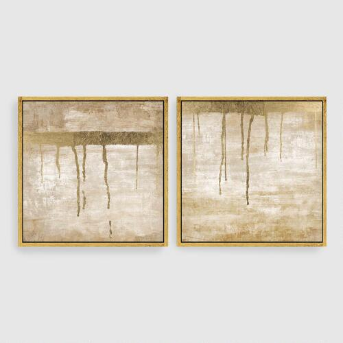 Dripping in Gold Abstract Canvas Wall Art Gold Leaf Set of 2