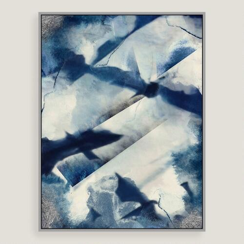 Abstract Blues Canvas Wall Art with Silver Leaf