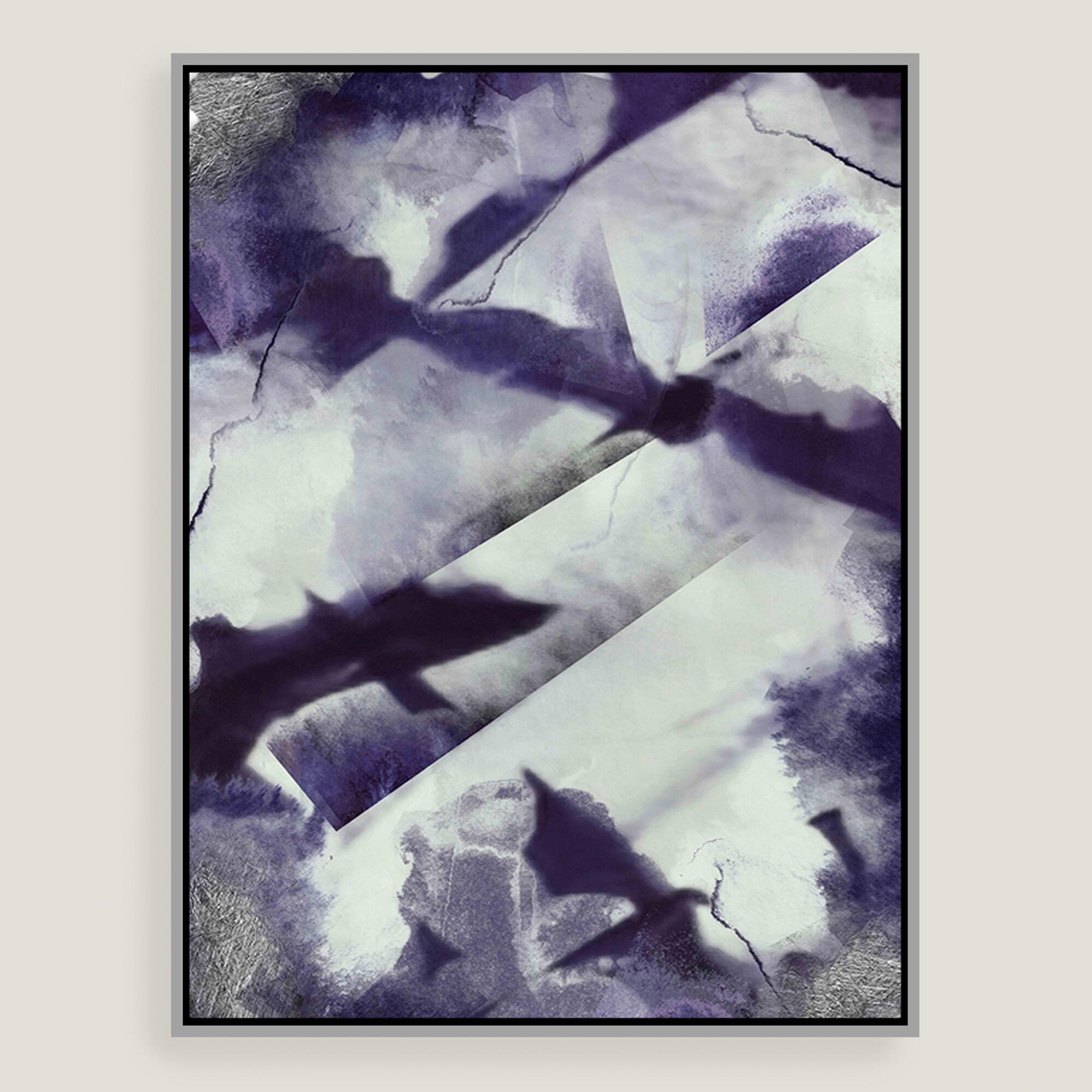 Abstract purple canvas wall art with silver leaf world for Purple wall art