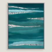Aqua Dreams Canvas Wall Art with Silver Leaf