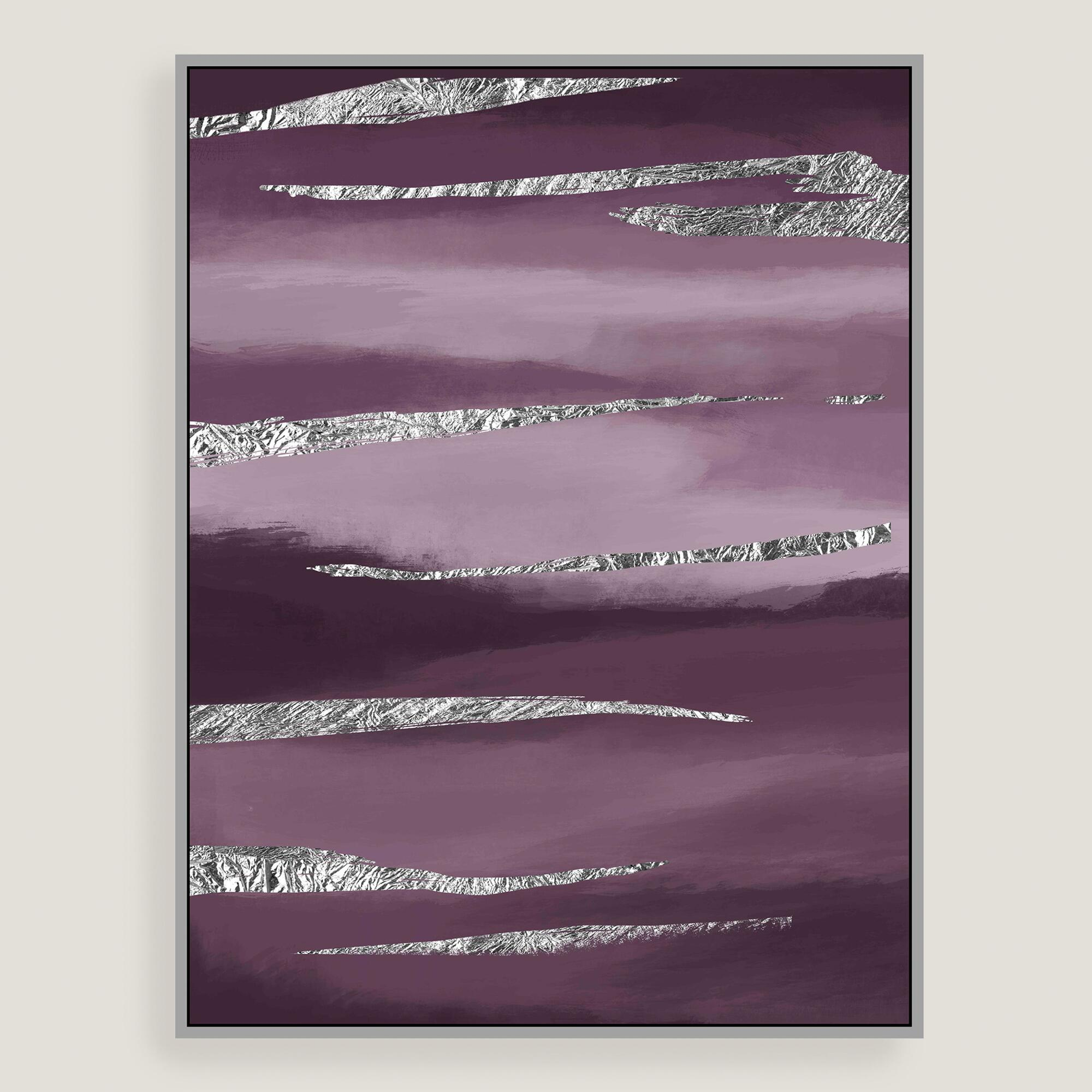 Purple dreams canvas wall art with silver leaf world market for Silver wall art