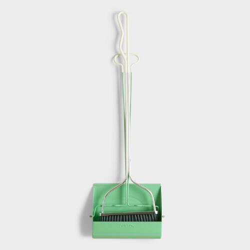 Mint Long Handle Smiley Dustpan with Broom