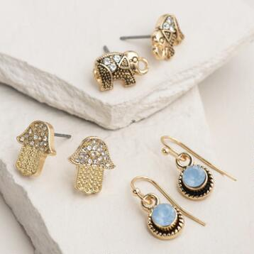 Elephant and Hamsa Boxed Stud Earrings, 3 Piece