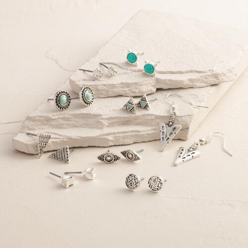Silver Chevron, Mint and Geo Tribal Earrings, 9 Piece