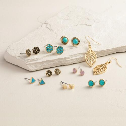 Gold Turquoise Leaf Earrings, 9 Piece