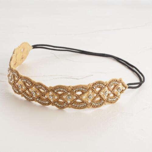 Gold Rhinestone and Pearl Headband