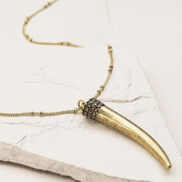 Gold Horn Pendant Necklace