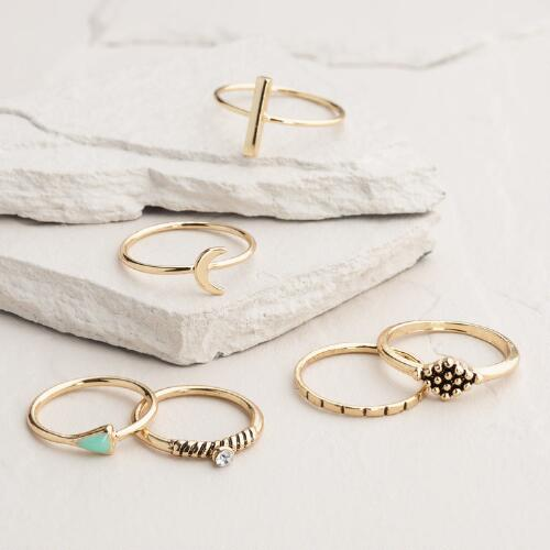 Gold Moon and Triangle Boxed Midi Rings, Set of 6