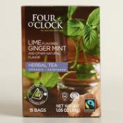4 O'Clock Lime Ginger Mint Herbal Tea 15 Count