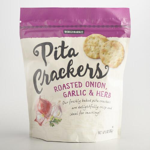 World Market Roasted Onion Garlic and Herb Pita Crackers