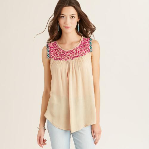 Ivory and Pink Bryn Top