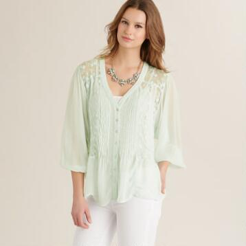 Mint Lace Elsa Blouse with Buttons
