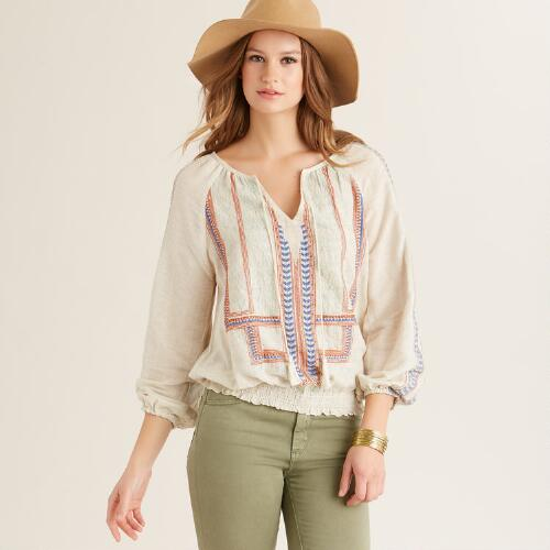 Flax Embroidered Ciel Top