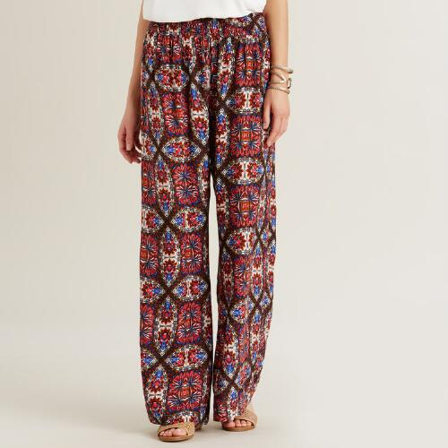 Blue and Pink Floral Madison Pants