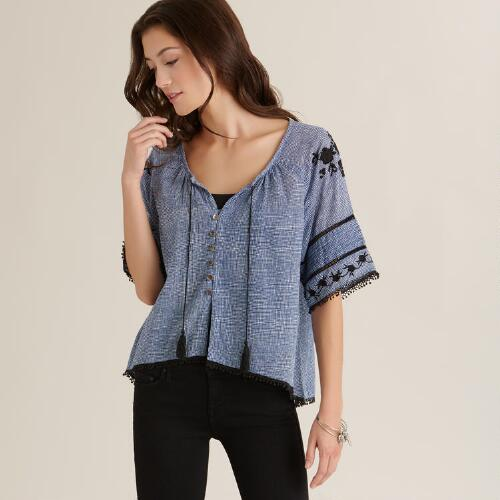 Navy and White Emilie Top
