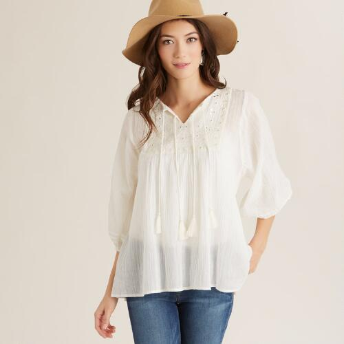 White Cala Top with Mirrors