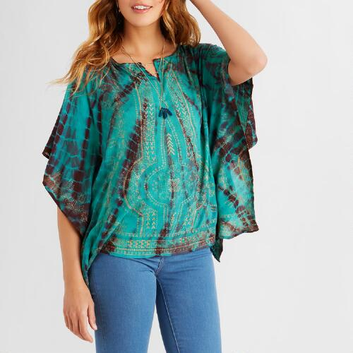 Turquoise and Wine Asiya Kaftan