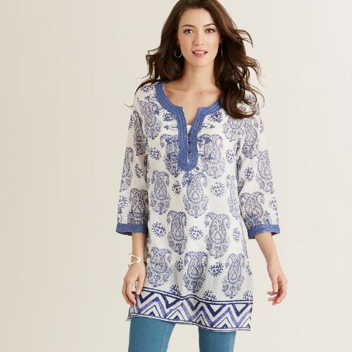 Blue Metallic Cate Tunic