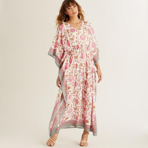 White and Pink Mika Kaftan