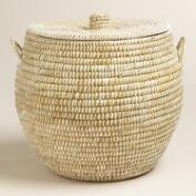 Large White Round Piper Tote Basket with Lid