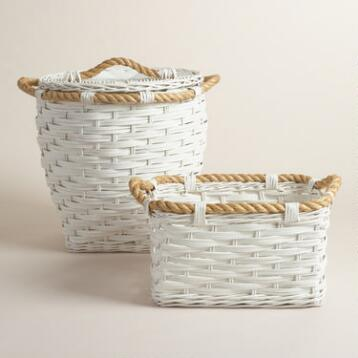 White Rattan and Rope Lori Basket