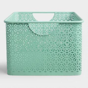 Medium Aqua Blue Metal Mia Storage Bin