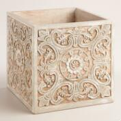 Graywash Carved Wood Mila Storage Box