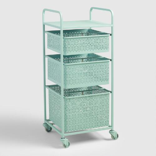 Aqua Blue Metal 3 Drawer Mia Rolling Cart