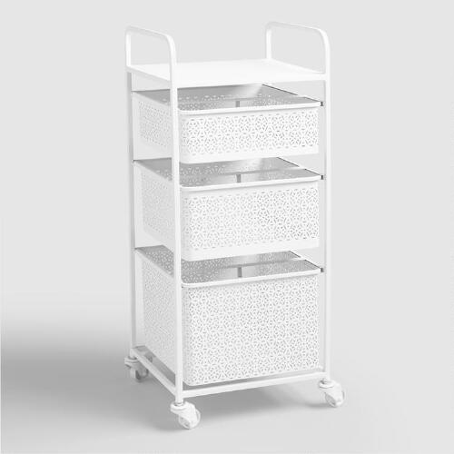 White Metal 3 Drawer Mia Rolling Cart