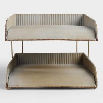 Ribbed Metal Stephen 2 Tier Tray