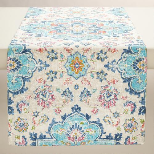 Blue Turkish Tile Table Runner