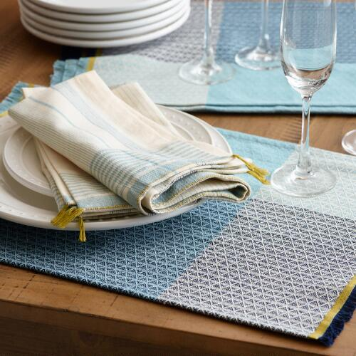 Blue Color Block Woven Table Linen Collection