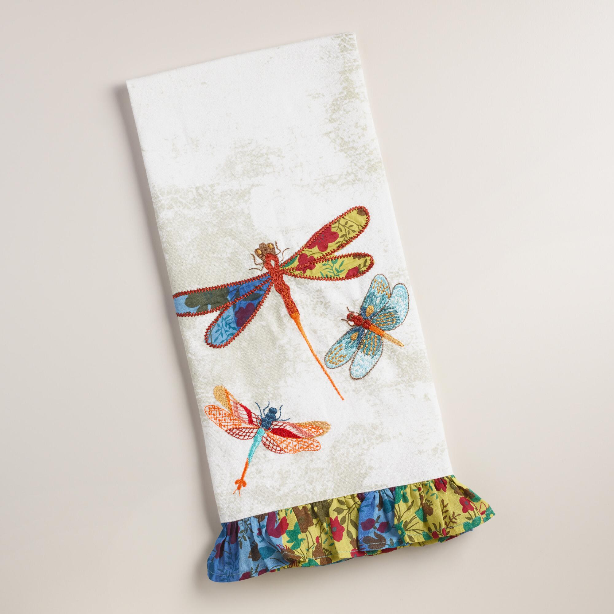 Embroidered Towels Online: Embroidered Dragonflies Kitchen Towel