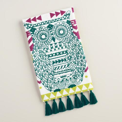 Teal Tribal Owl Kitchen Towel